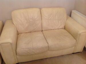 Image Is Loading Cream Leather Sofa Suite