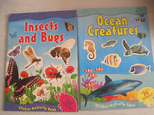 Lot of 2~Sticker Activity Books~Ocean Insects Bugs~w/140 stickers~New~S/N~LBDEE