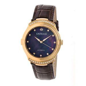 Empress-Francesca-Women-039-s-Automatic-MOP-Crystal-Dark-Brown-Leather-Watch-EM2203