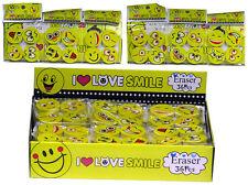 4 x Radiergummi Love Smiley 2,5cm Eraser Radierer mit Gesicht für Schule Kinder