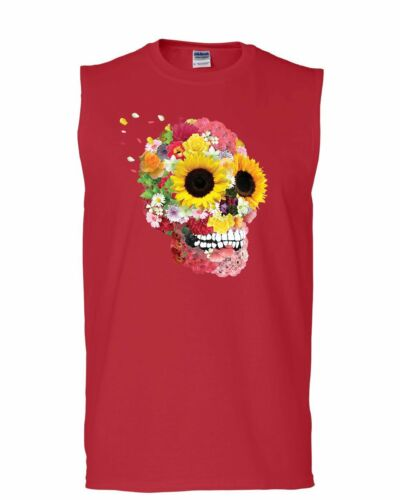 Sunflowers Sugar Skull Muscle Shirt Day of the Dead Calavera Mexico Sleeveless