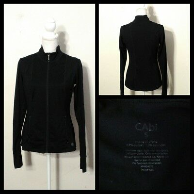 Black Full Zip Fitted Long Sleeve Inv#s8890 Less Expensive Cabi Gym Jacket Women's Sm