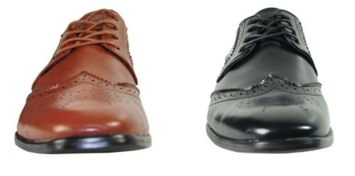 Mens Black Brown Lace Up Traditional Wing Tip Groom Oxfords Dress Shoes TUXXMAN