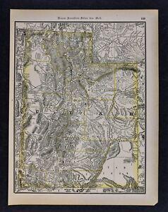 1891 McNally Map Utah - Great Salt Lake City Ogden Logan Provo ...