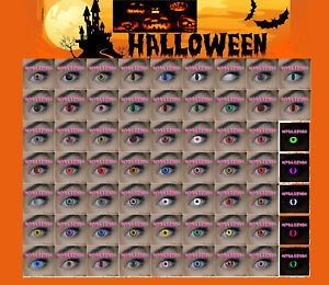 Crazy-Coloured-Contact-Lenses-halloween-Blood-Teeth-Tattoo-Scar-Case-Lens