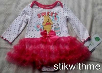 NEW Disney Pooh  DRESS  Bodysuit w/attached Glitter Tulle Skirt  (Baby 6-9 mos.)