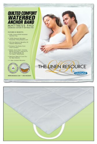 Quilted Waterbed Anchor Band Mattress Pad Super Single Queen Cal King PRIORITY