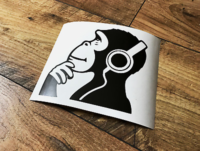BANKSY MONKEY DJ HEADPHONES STICKERS STICKY DECALS WALL CAR VAN BUMPER LAPTOP