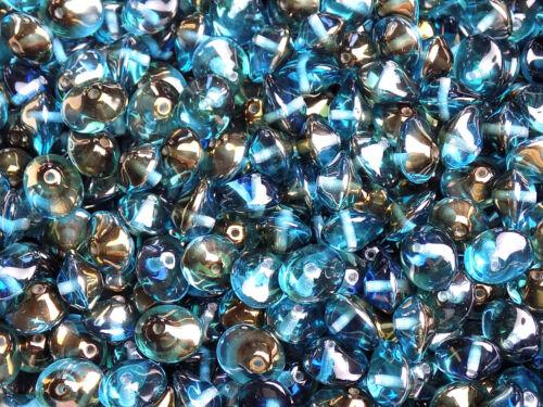 UK boutique  * 7781 Perles Verre Tchèque irregular bleu bronze 11 mm PK10