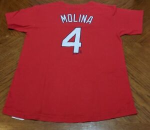 hot sale online 1f73c 90e44 Details about Majestic MLB St. Louis Cardinals Yadier Molina #4 Shirt  Jersey Kids XL (Red)