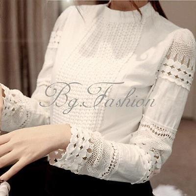 2017 New Women Ladies Lace Crochet High Collar OL Tops Tee Shirt Blouse 5 Sizes