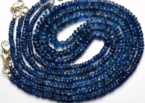 """FINISHED NECKLACE 18/"""" NATURAL GEM KYANITE 3-6MM FACETED RONDELLE BEADS 104CTS"""