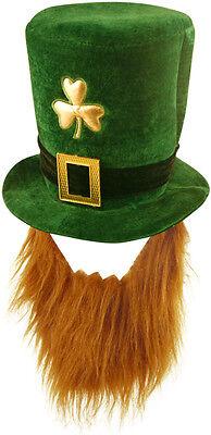 Irish St Patricks Day Hat Fancy Dress Jester Top Hat Ginger Beard Leprechaun