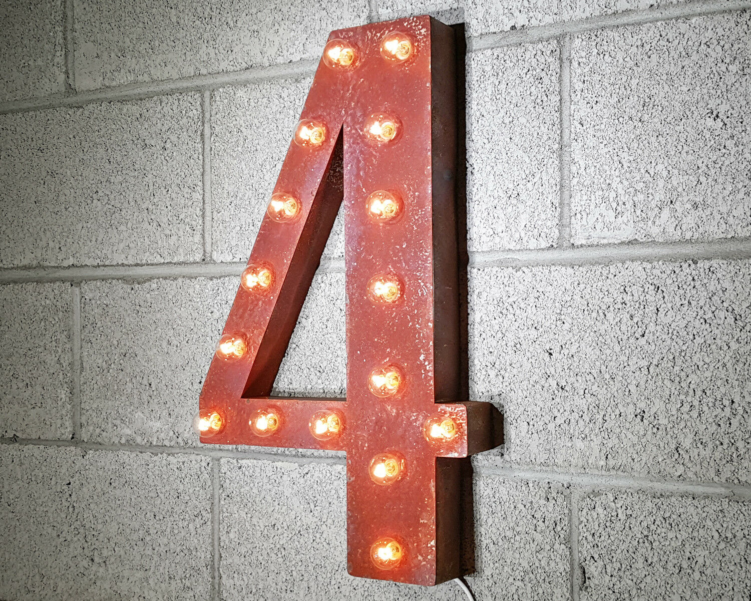 21  NUMBER 4 FOUR Battery Operated LED Rustic Metal Marquee Light Up Sign