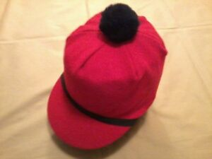 Image is loading Vintage-Scotch-Cap-with-Pom-Wool-Red-NEW- 71412d9745c
