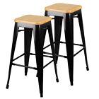 2 X Tolix Replica Xavier Bar Stool Metal Steel Chair Bamboo Seat 76cm Black