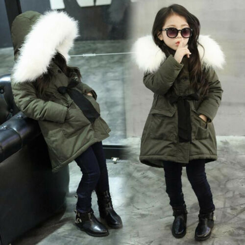 Kids Girls Winter Coat Fur Collar Hooded Jackets Thick Warm Cotton-Padded Parkas