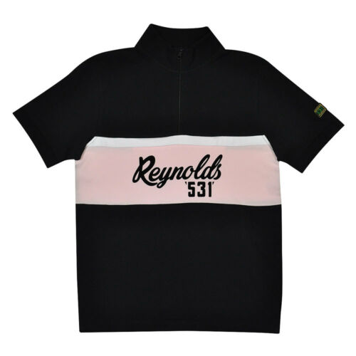 Reynolds 531 100/% cotton polo shirt iconic cycling brand black and pink
