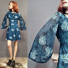 SALE Vintage 70s Hippie Boho Dress Blue Floral Mini Sheer BELL SLEEVE 60s L/XL