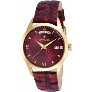 Invicta-18472-Vintage-Quartz-Day-Date-Dark-Red-Leather-Strap-Mens-Watch