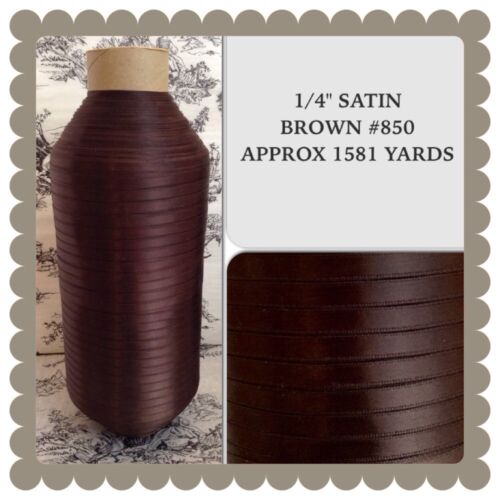 "Brown Satin Ribbon 14"" Craft Wide Double Faced 1581 Yards Polyester"