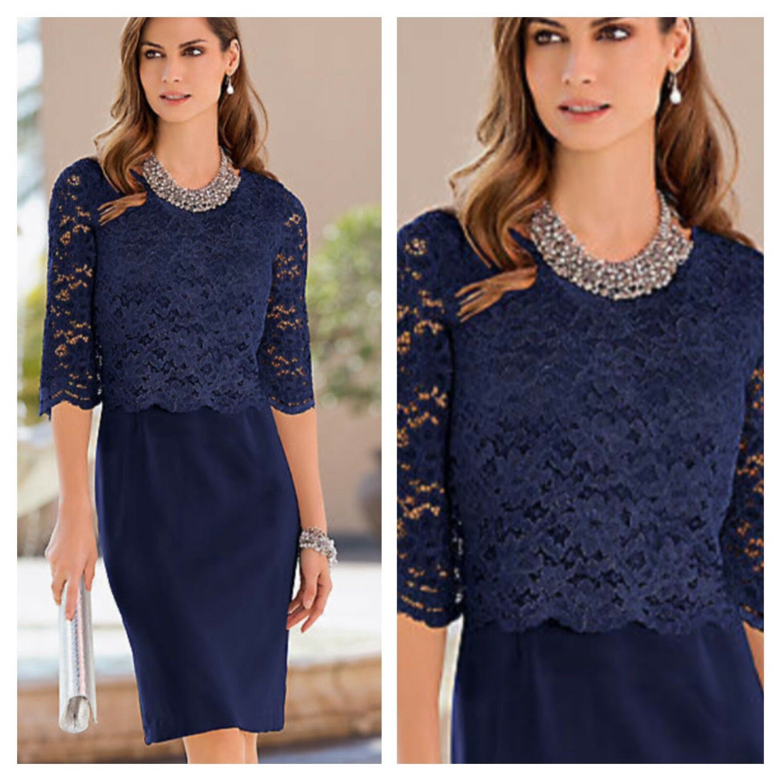 Together @ Kaleidoscope Size 8 Navy Lace Overlay DRESS Evening Occasion Fab