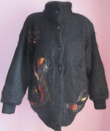 Ladies Mohair Vision C Vtg Mix Size 69a Cardigan Oversize Applique amp;a Black M UxaH0t0dqw