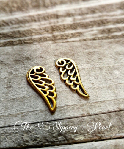 BULK Charms Angel Wing Charms 24mm Antiqued Gold 50 pieces Wholesale Charms