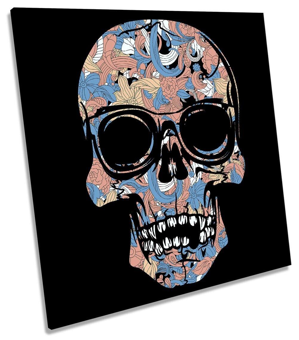 Skull Modern SunGlases Floral Bild CANVAS Wand Kunst Square Drucken