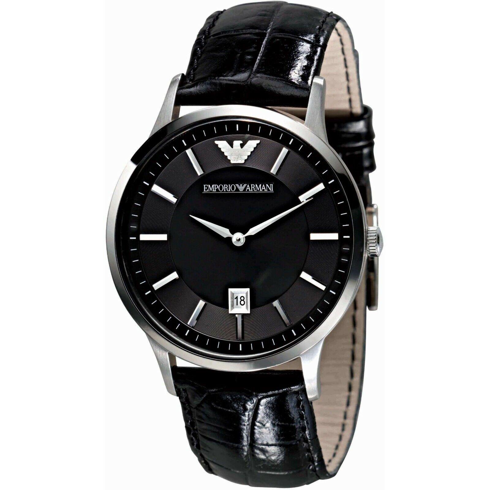20133b8a9ba Emporio Armani AR2411 Men s Black Leather Strap Watch for sale ...