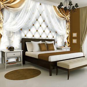 vlies fototapeten fototapete tapete gelb vorhang gesteppt. Black Bedroom Furniture Sets. Home Design Ideas