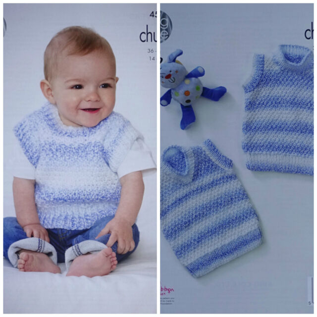 Baby Knitting Pattern Babies Easy Knit Sleeveless Jumpers Chunky