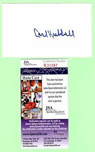 Carl Hubbell Signed Autograph 3x5 Index Card JSA R31387