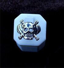 Sterling Silver Biker  Gothic Skull ring with crossbones vintage old school
