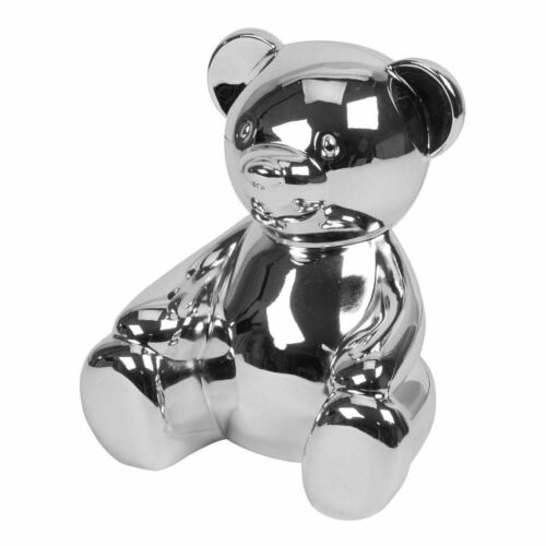 Teddy Bear Silver Plated Money Bank Christening Gift For New Born Baby