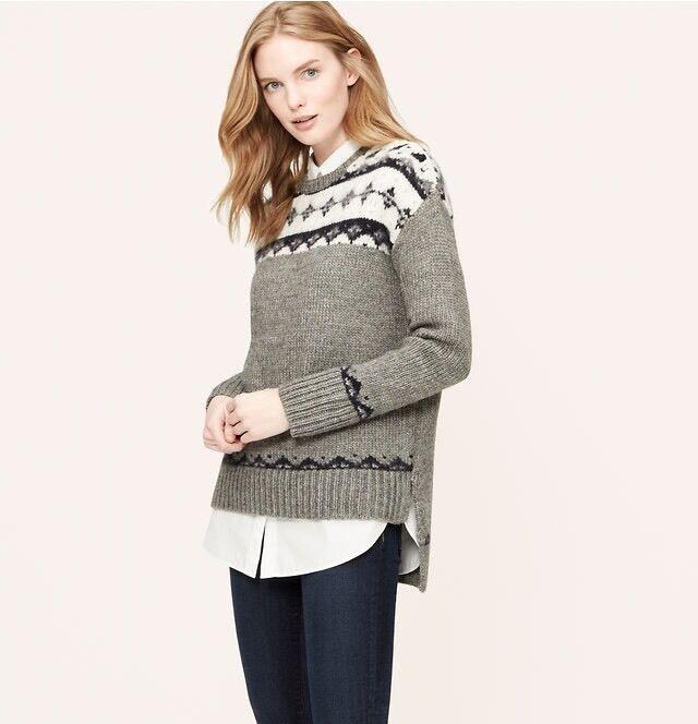 NWOT Ann Taylor Loft Petite Slouchy Fair Isle Sweater Size SP