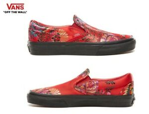 VANS-Festival-Satin-Classic-Slip-On-Red-Street-Style-Fashion-Sneakers-Shoes
