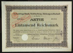 GERMANY-941-B-amp-G-Industriegelaende-Schoeneberg-Aktiengesellschaft-1000-Mark-1906