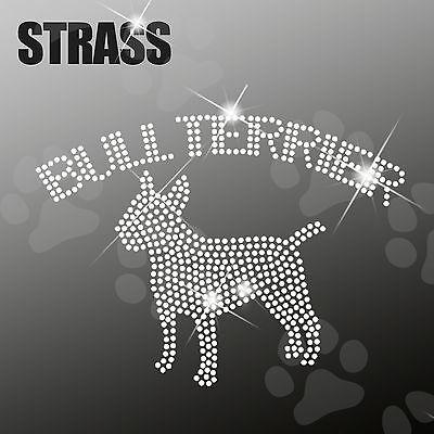 Symbol Der Marke Bull Terrier Strass Applikation Hund Strassbild Bügelbild Hotfix Ca.18x13cm