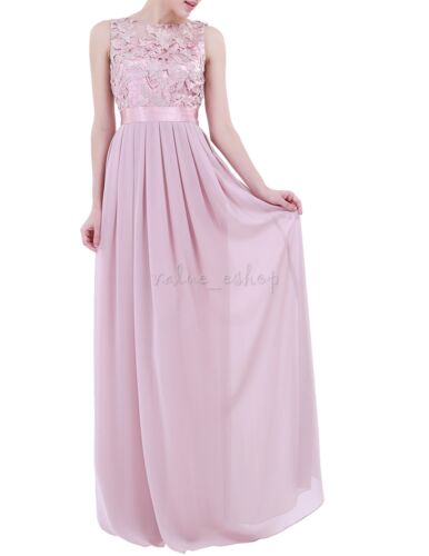 Long Chiffon Formal Women Lace Dress Prom Evening Party Cocktail Bridesmaid Gown
