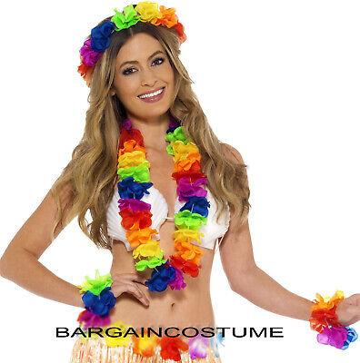HULA LEI UNISEX LUAU FANCY DRESS MULTI HAWAIIAN BEACH PARTY HAWAIIAN