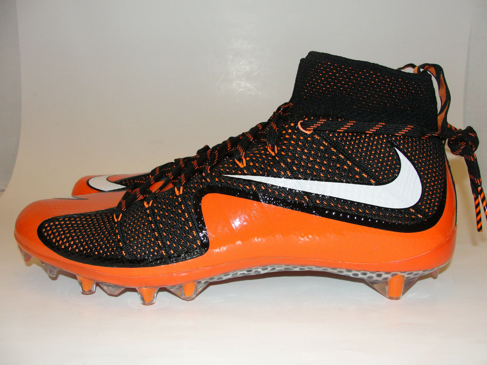 Nike Vapor Untouchable TD Flyknit Carbon Football Cleats sz 13 Orange Black
