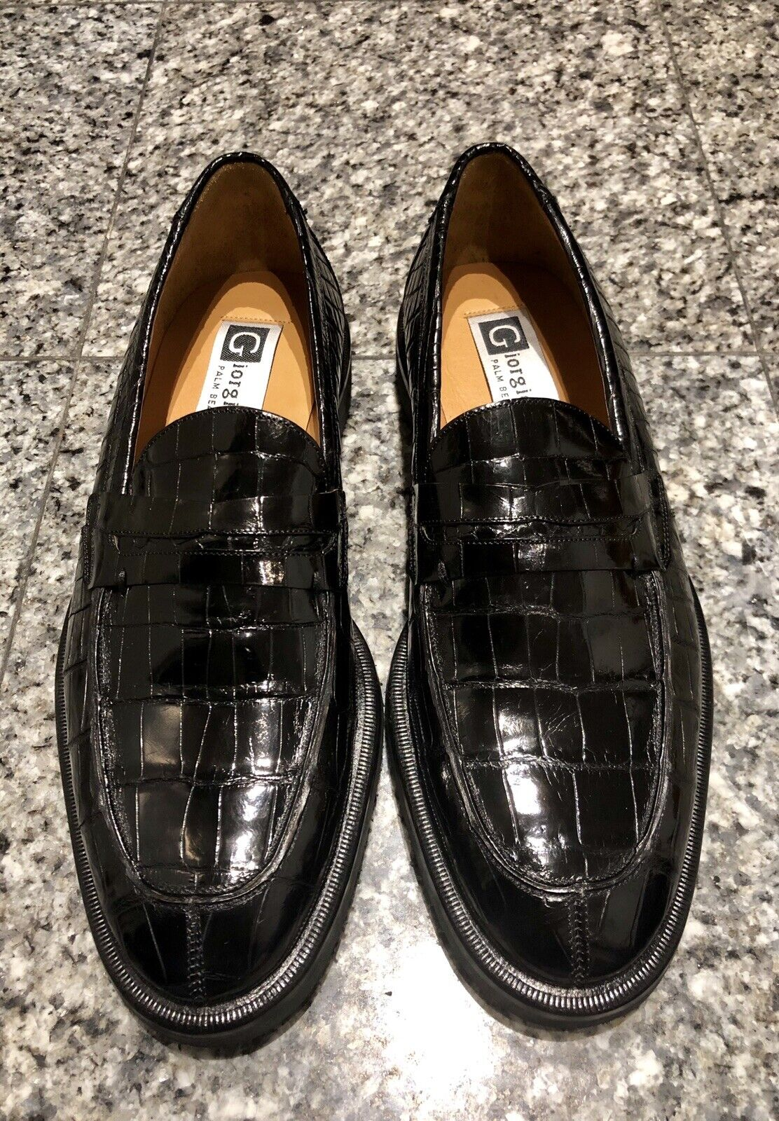 Giorgio's of Palm Beach nero Crocodile Men's Loafers scarpe