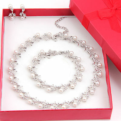 10 Sets Jewelry Sets Wedding Bridal Pearl &Crystal Necklace Earring Set