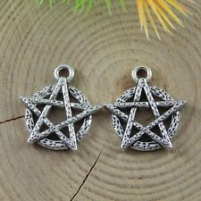 160PCS Antiqued Style Silver Alloy Five Pointed Star Charms Pendant 39505
