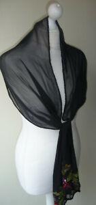 Black-100-Silk-Stole-Scarf-Wrap-Stars-amp-Leaf-Embellished-Sequins-Beads-Design