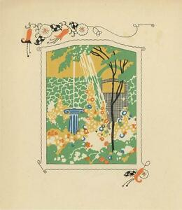 ANTIQUE GARDEN FLOWERS WATER FOUNTAIN GATE TREE ART DECO WOODCUT COLOR OLD PRINT