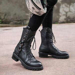 donna taglia in Nuove pelle Y938 punta da gotici Stivaletti Gothic con rotonda con Punk lacci scarpe ExYnYUqw6
