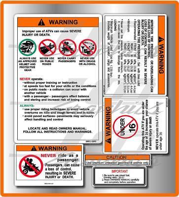 yamaha banshee warning decals stickers labels