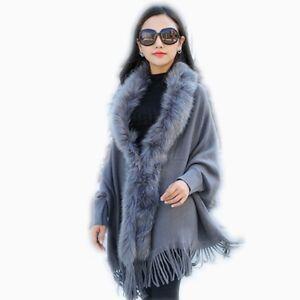 Inverno Sweater Collar Cloak Fur Cardigan Poncho Nappa Faux Donna Moda Autunno 7qTdTWnzpx
